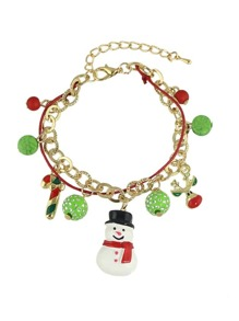 New Christmas Gift Colorful Balls Snowman Deer Charms Bracelet
