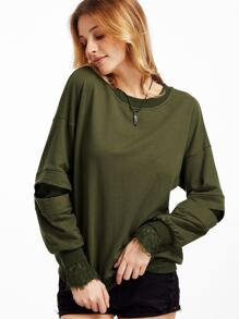 Army Green Lace Lined Open Sleeve Sweatshirt