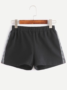 Black Embroidered Tape Side Elastic Waist Shorts