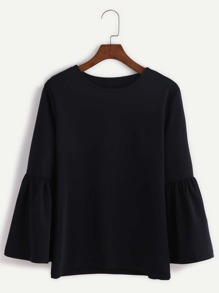 Black Round Neck Bell Sleeve Blouse