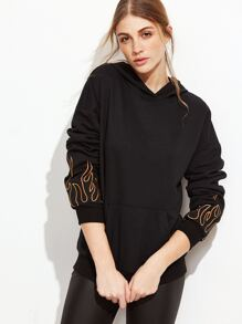 Black Flame Print Drop Shoulder Hoodie With Pocket