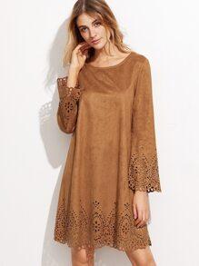Camel Faux Suede Laser Cutout Dress