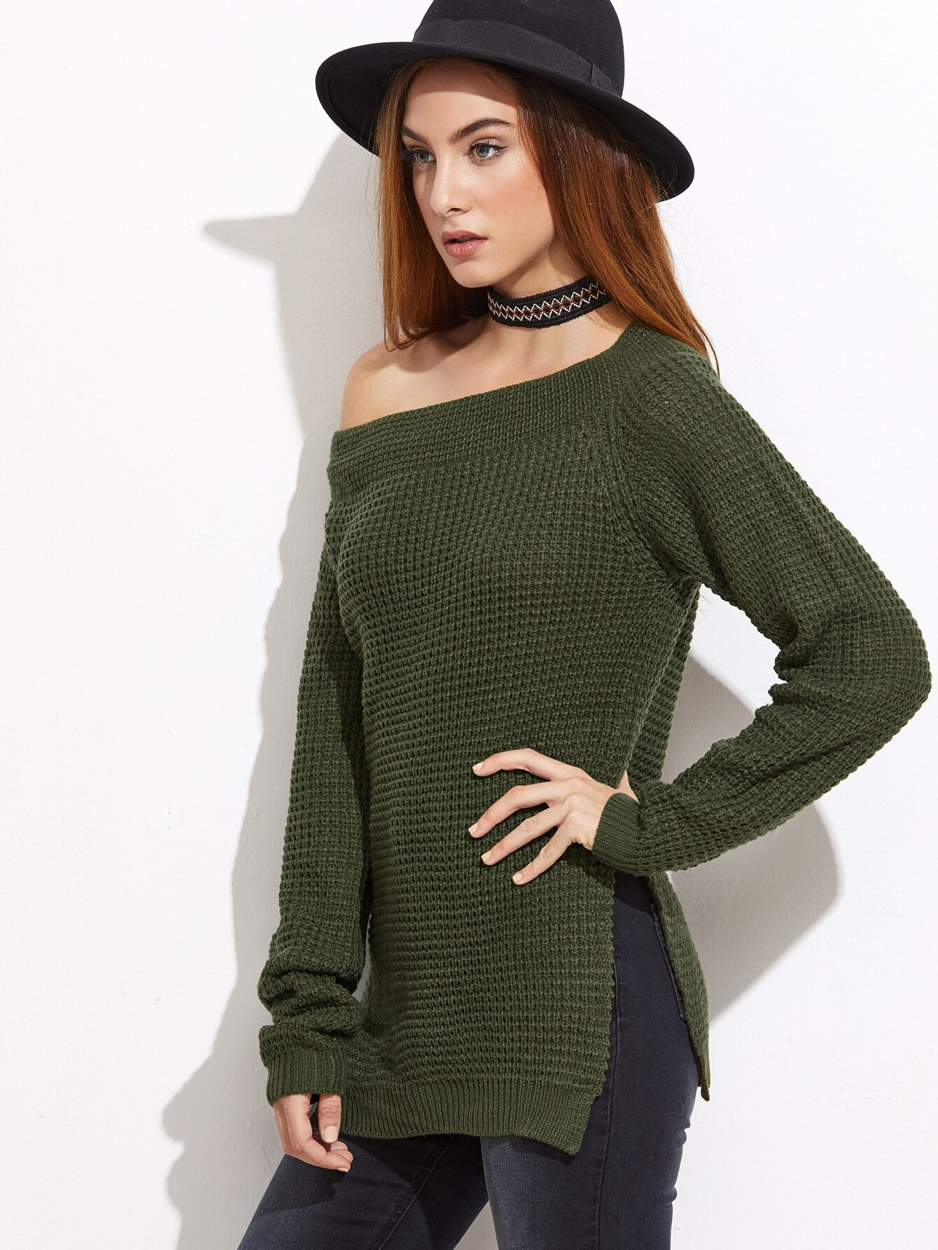 Olive Green Waffle Knit Asymmetric Off The Shoulder Sweater ...