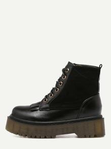 Black Faux Leather Round Toe Lace Up Flatform Short Boots