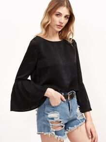 Black Button Back Pleated Bell Sleeve Top