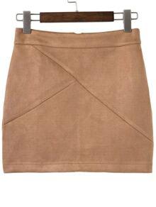 Khaki Zipper Back Mini Skirt