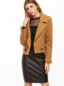 Khaki Drop Shoulder Coat With Pockets