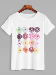 White Doughnut Print Short Sleeve T-shirt