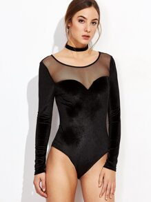 Black Illusion Neckline Velvet Bodysuit
