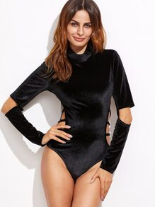 Black Cowl Neck Strappy Cutout Velvet Bodysuit