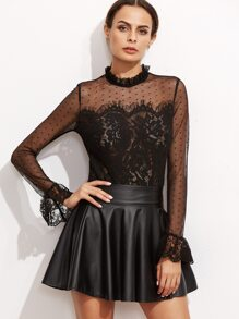 Black Fungus Collar Keyhole Back Lace Trim Top
