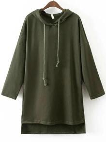 Army Green Hooded Oversized High Low Sweatshirt