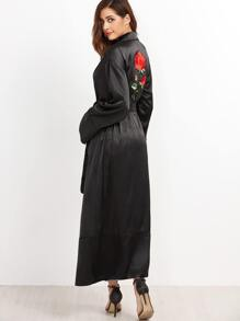 Black Embroidered Back Wrap Coat