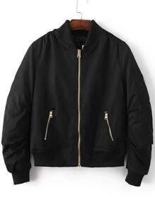 Black Ribbed Trim Bomber Quilted Jacket
