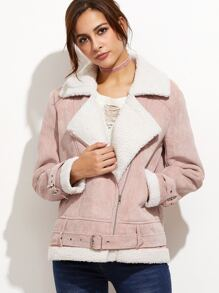 Pink Fleece Lined Belted Asymmetric Zip Cord Jacket