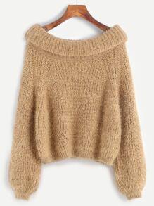 Khaki Boat Neck Foldover Fuzzy Sweater