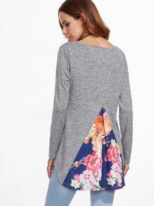 Contrast Florals Trim Dip Hem T-shirt