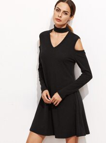 Black Choker Neck Cut Out A Line Dress