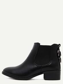Black Faux Leather Almond Toe Elastic Buckle Strap Boots