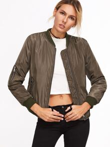 Contrast Ribbed Trim Zipper Jacket
