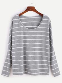 Grey Striped Drop Shoulder T-shirt