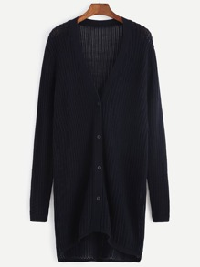 Navy Button Up Longline Cardigan