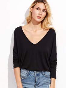 Black Double V Neck Drop Shoulder T-shirt