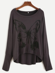 Butterfly Print Batwing Sleeve High Low T-shirt