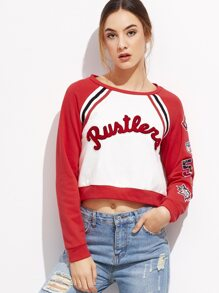 Contrast Raglan Sleeve Crop Sweatshirt With Patch