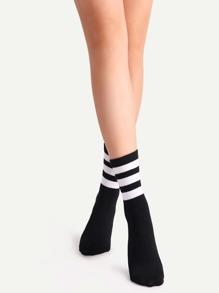 Black Striped Crew Socks