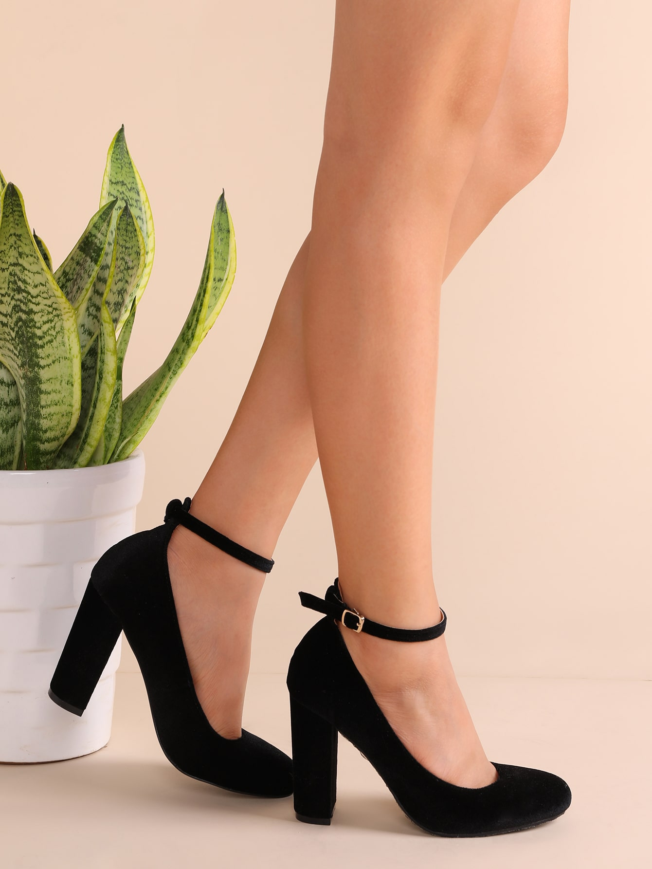 Black Velvet Almond Toe Ankle Strap Heels EmmaCloth-Women Fast ...