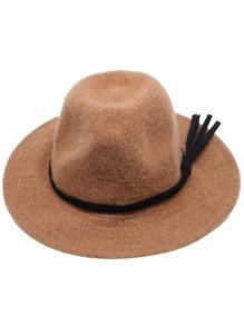 Khaki Faux Leather Band Knit Fedora Hat