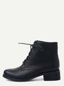 Black Distressed PU Lace Up Chunky Booties
