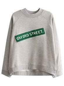 Grey Raglan Sleeve Sweatshirt With Patch Detail