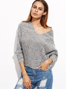 Grey V Neck Batwing Sleeve Hollow Sweater