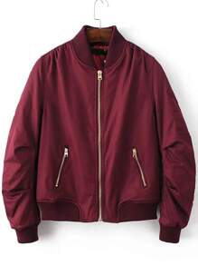 Burgundy Ribbed Trim Bomber Quilted Jacket