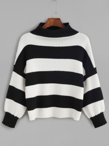 Black And White Striped Ribbed Knit Crop Sweater