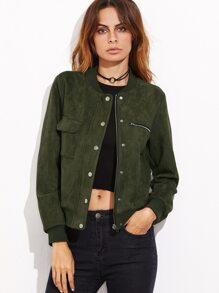 Olive Green Faux Suede Hidden Zip Bomber Jacket