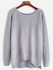 Grey Raglan Sleeve Dip Hem Sweater