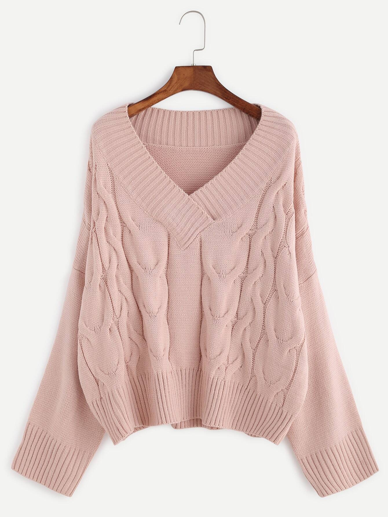 Pink V Neck Drop Shoulder Cable Knit Sweater EmmaCloth-Women Fast ...