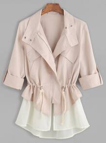 Pink Roll Sleeve Drawstring Jacket With Contrast Trim