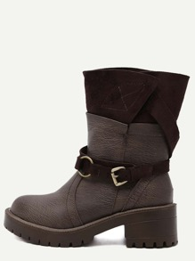 Camel Faux Leather Buckle Strap Mid Calf Boots