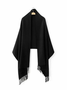 Black Long Fringe Elegant Shawl Scarf