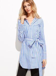 Blue Vertical Striped Pocket Front Belted Blouse