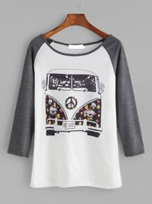 Contrast Raglan Sleeve Cartoon Print T-shirt