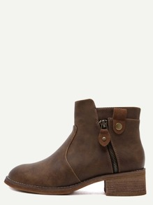 Brown Faux Leather Cork Heel Ankle Booties