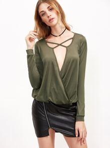 Olive Green Crisscross Drape Front T-shirt