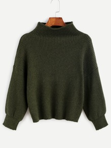 Olive Green Ribbed Knit Crop Sweater