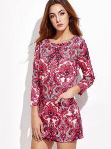 Ornate Print Pockets Shift Dress