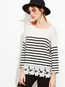 Black And White Striped Floral Crochet Trim T-shirt